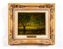 """Henry Hammond Ahl, """"End of Day"""", Signed Oil"""