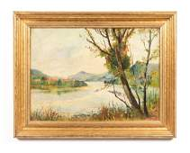 River View in Pittsburgh, PA, Signed Oil Painting