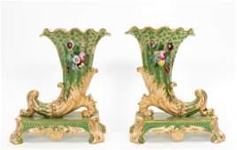 Pr 19th C Old Paris Cornucopia Vases Manheim