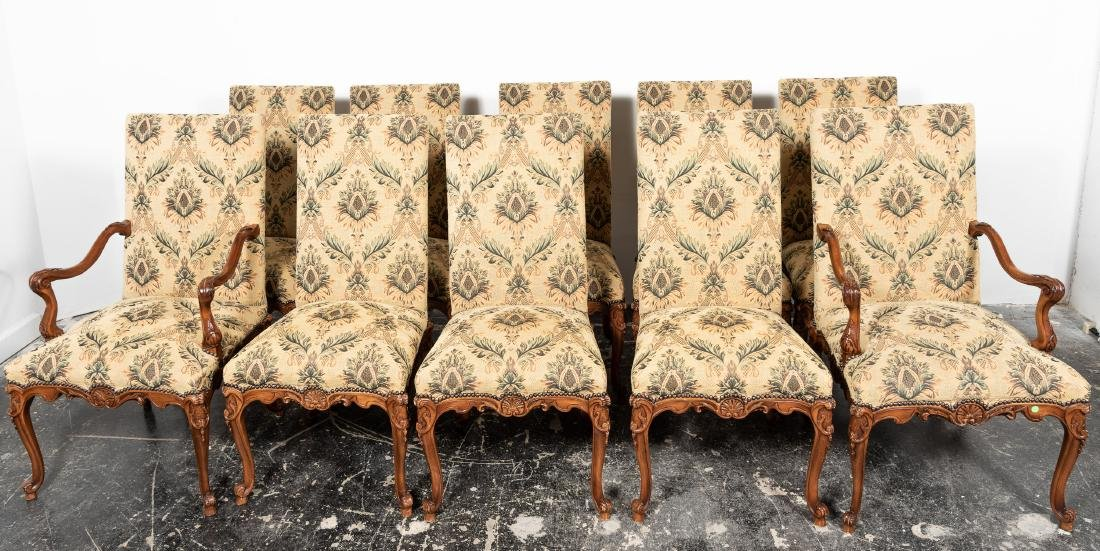 Ten Louis XIV Style Upholstered Dining Chairs