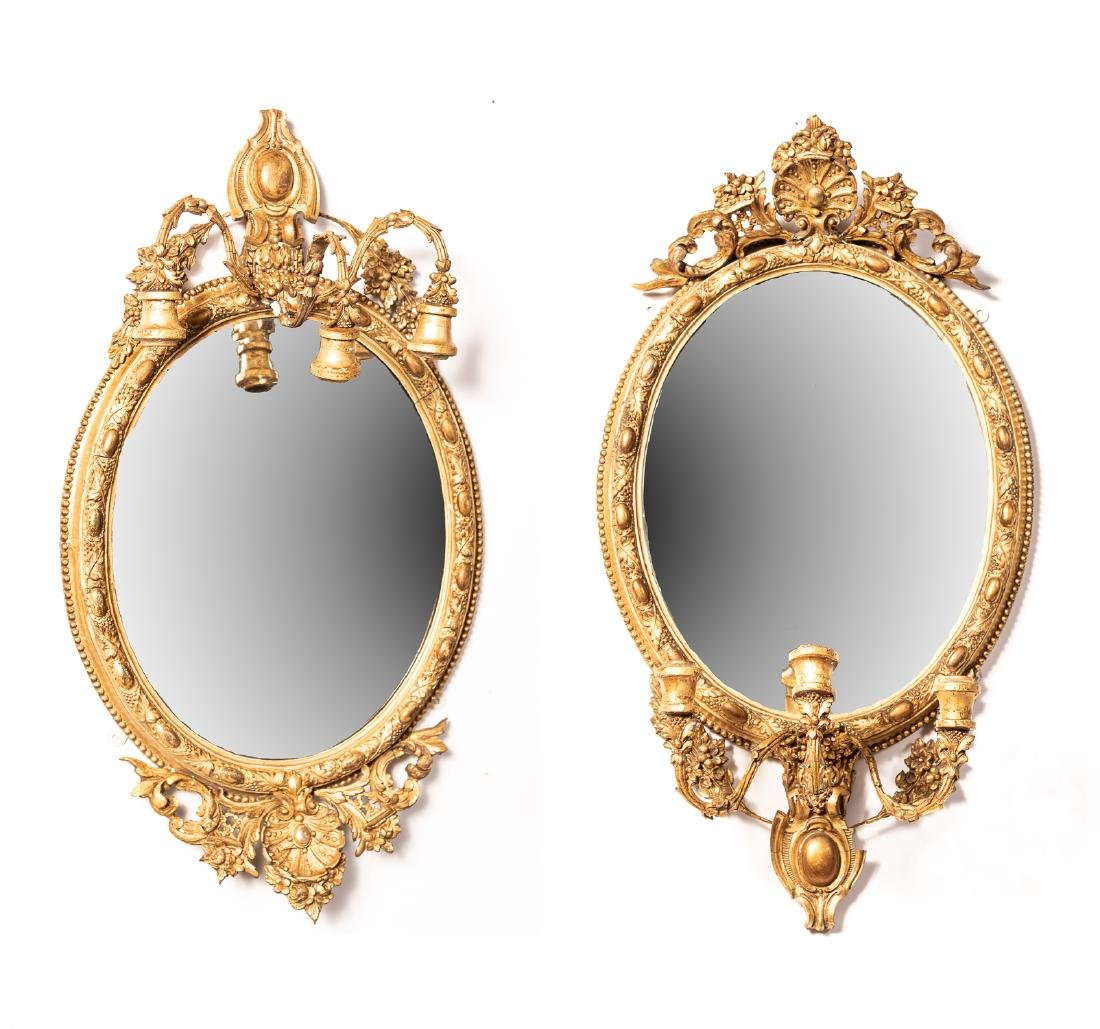 Pair of 19th c. French Giltwood Mirror W/ Sconces