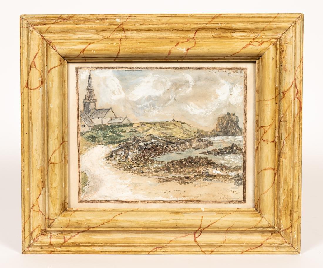 Alfred Plauzeau Coastal Scene Watercolor