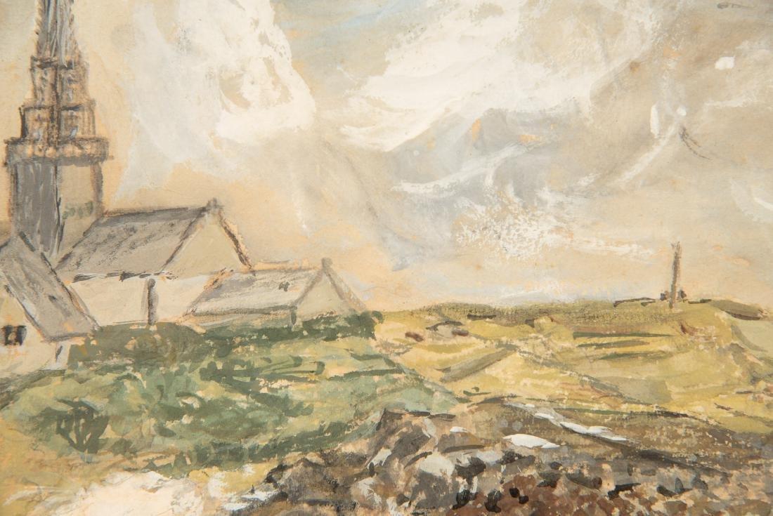 Alfred Plauzeau Coastal Scene Watercolor - 3