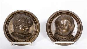 Pair of Round Bronze Bust Plaques, Small Children