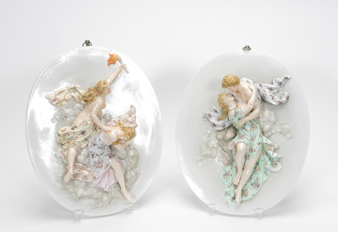 Pair, Oval Porcelain Figural Hanging Wall Plaques
