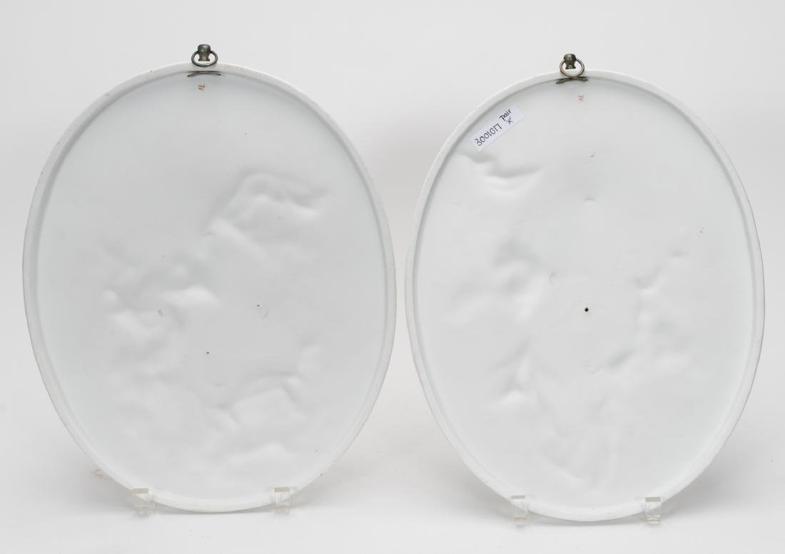 Pair, Oval Porcelain Figural Hanging Wall Plaques - 5