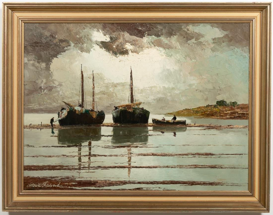 Georg Arnold Brabone, Seascape with Boats, O/C