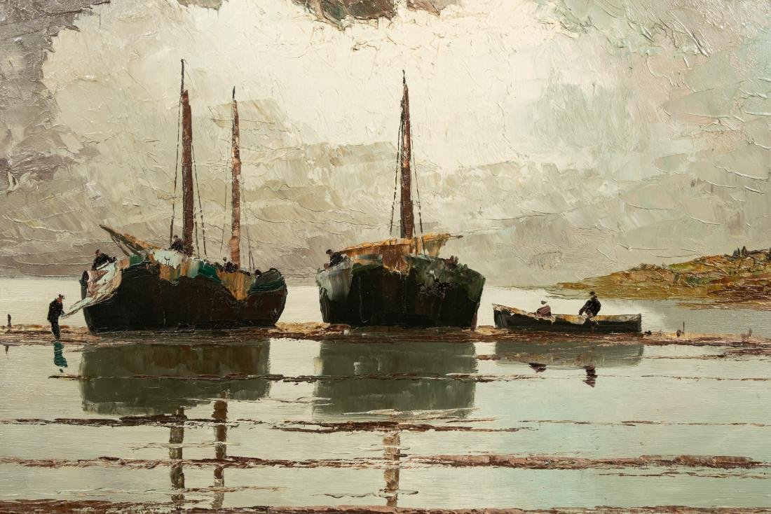 Georg Arnold Brabone, Seascape with Boats, O/C - 5