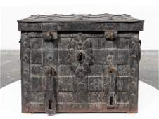 17th/18th C. Continental Iron Strong Box