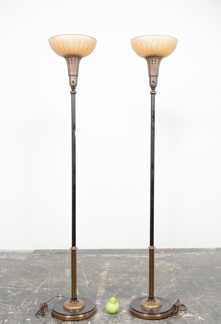 Pair, Floor Torchieres w/ Amber Glass Shades - 2