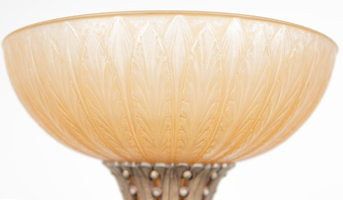 Pair, Floor Torchieres w/ Amber Glass Shades - 4