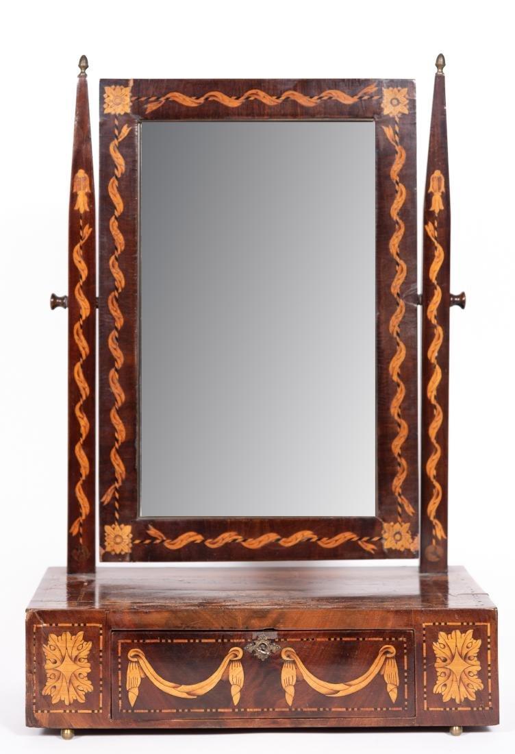 Late 19th C. European Inlaid Shaving Mirror