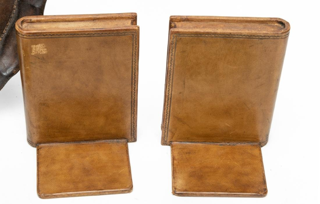 6, Leather Bound Faux Book Desk Accessories - 8