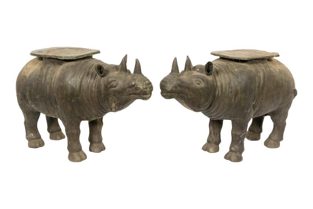 Pair, Bronze Rhinoceros Stools or Tables