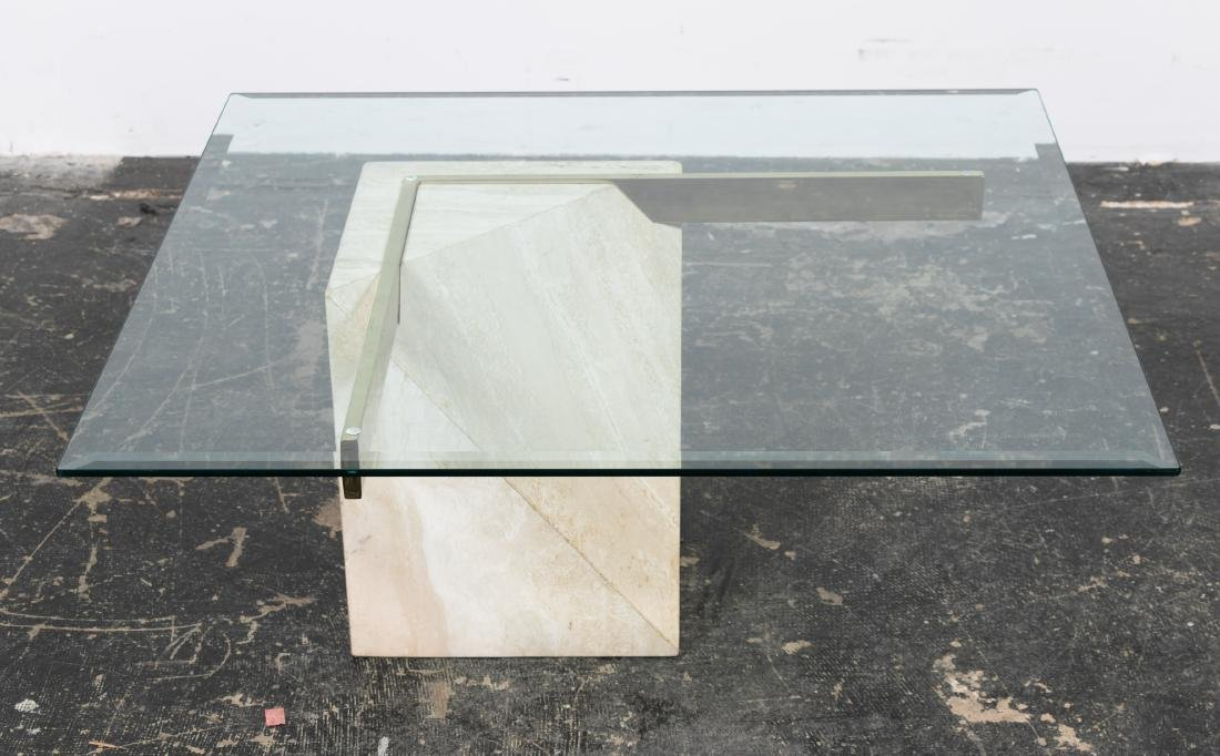 Artedi Italian Glass & Travertine Coffee Table - 2