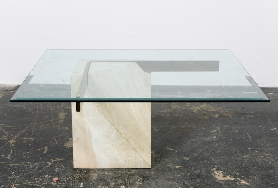 Artedi Italian Glass & Travertine Coffee Table - 3