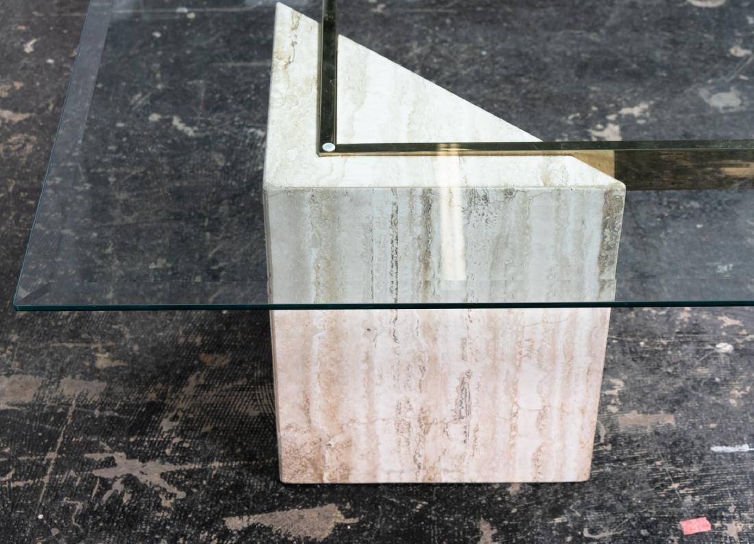 Artedi Italian Glass & Travertine Coffee Table - 4
