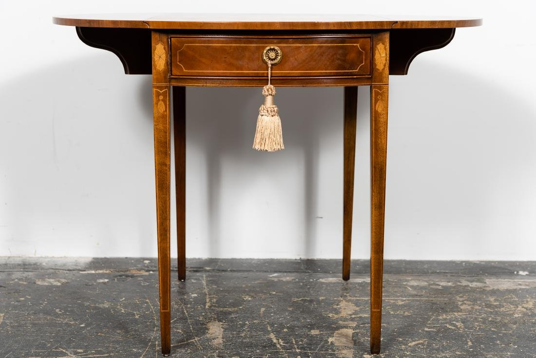 Baker Sheraton Style Inlaid Pembroke Table - 3