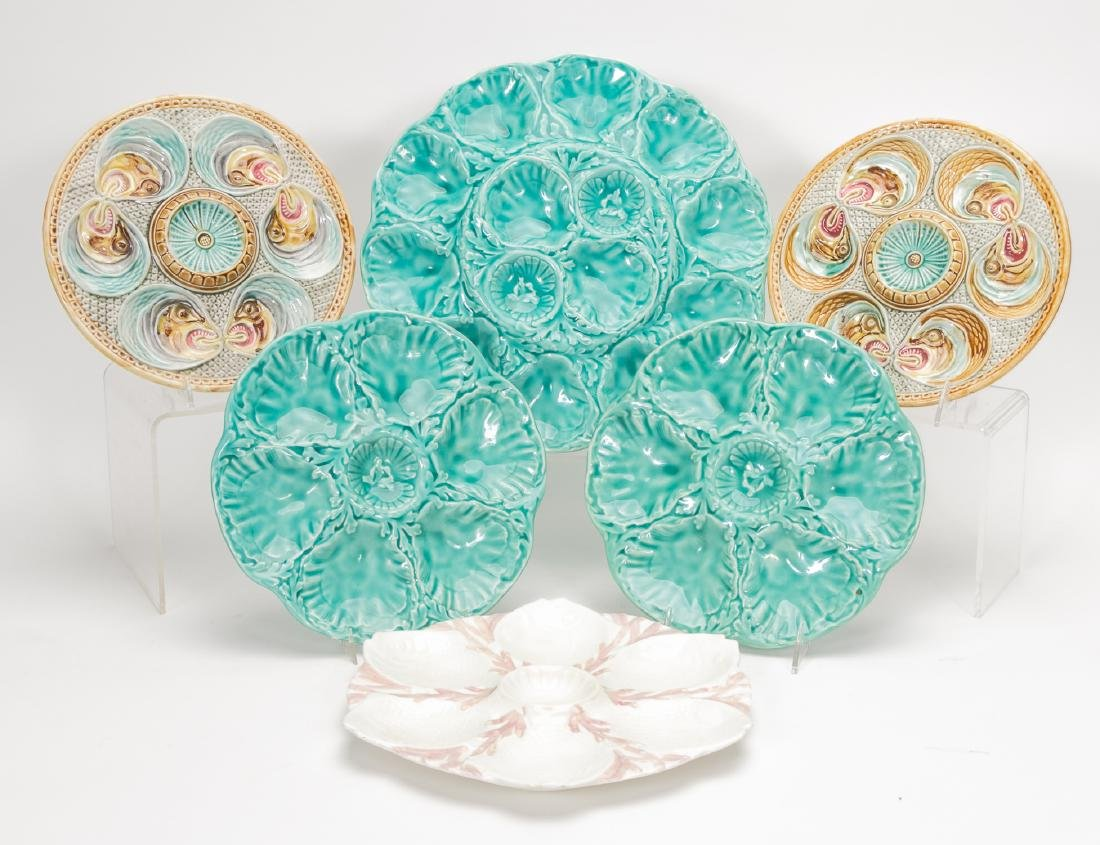 6 Assorted Majolica Oyster Plates