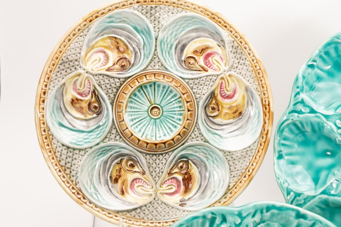 6 Assorted Majolica Oyster Plates - 2