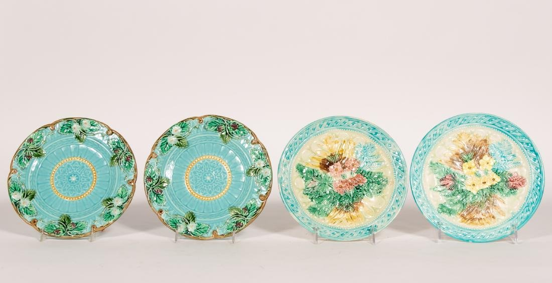 Group, 4 Floral Continental Majolica Plates