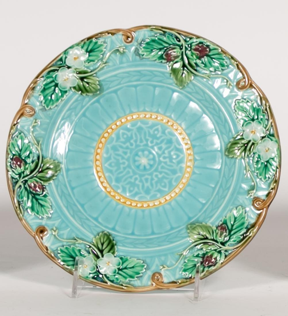 Group, 4 Floral Continental Majolica Plates - 2