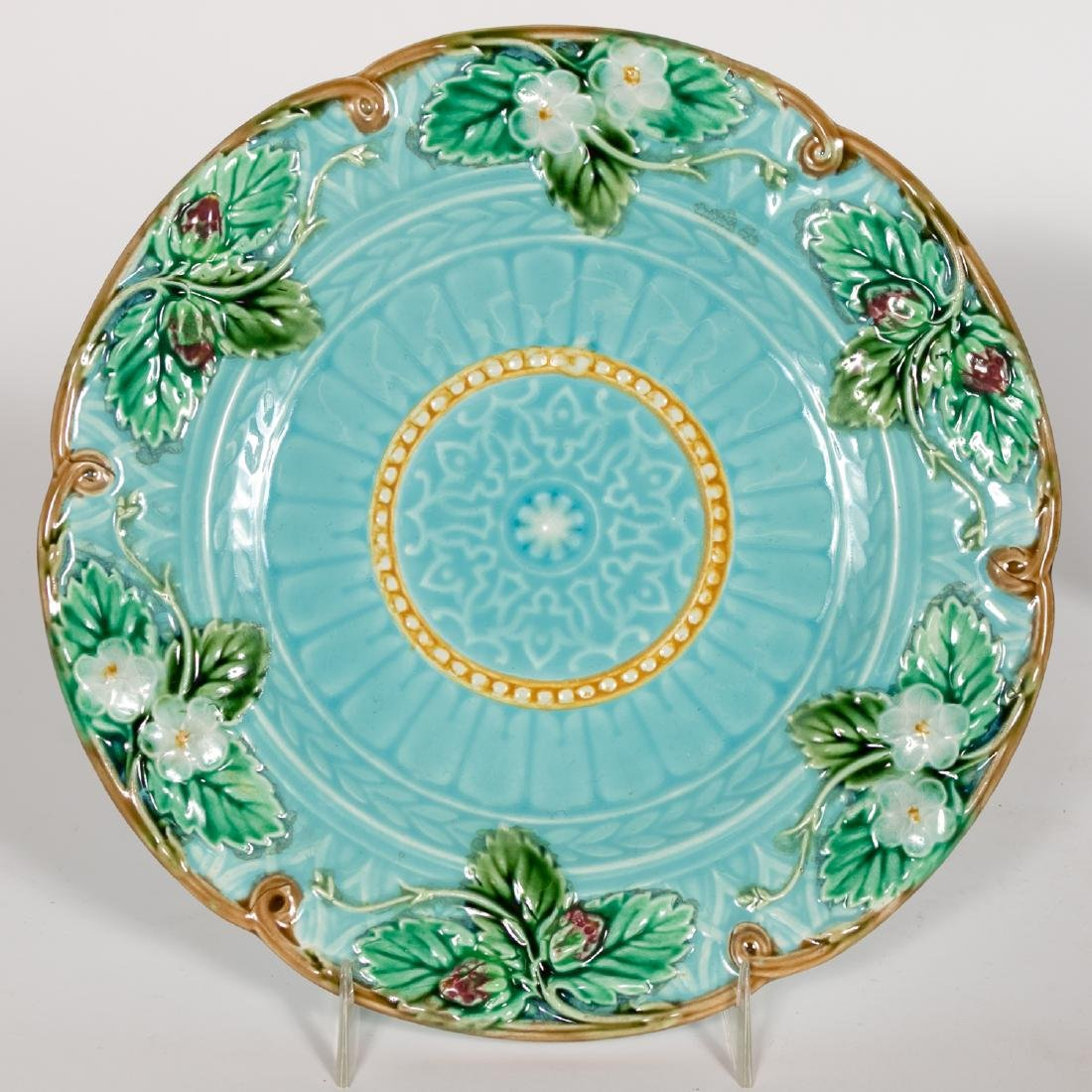 Group, 4 Floral Continental Majolica Plates - 3