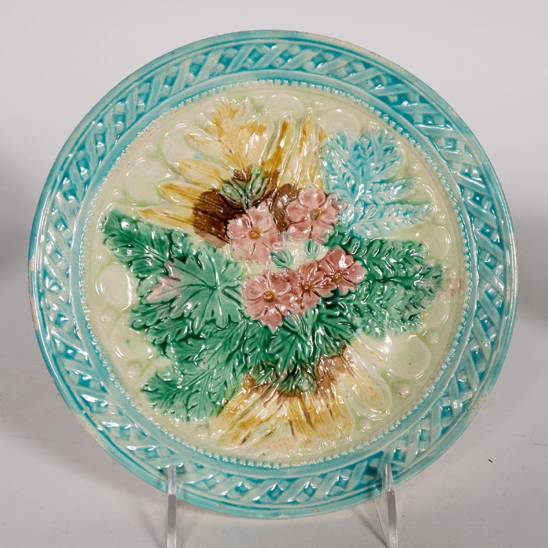 Group, 4 Floral Continental Majolica Plates - 4