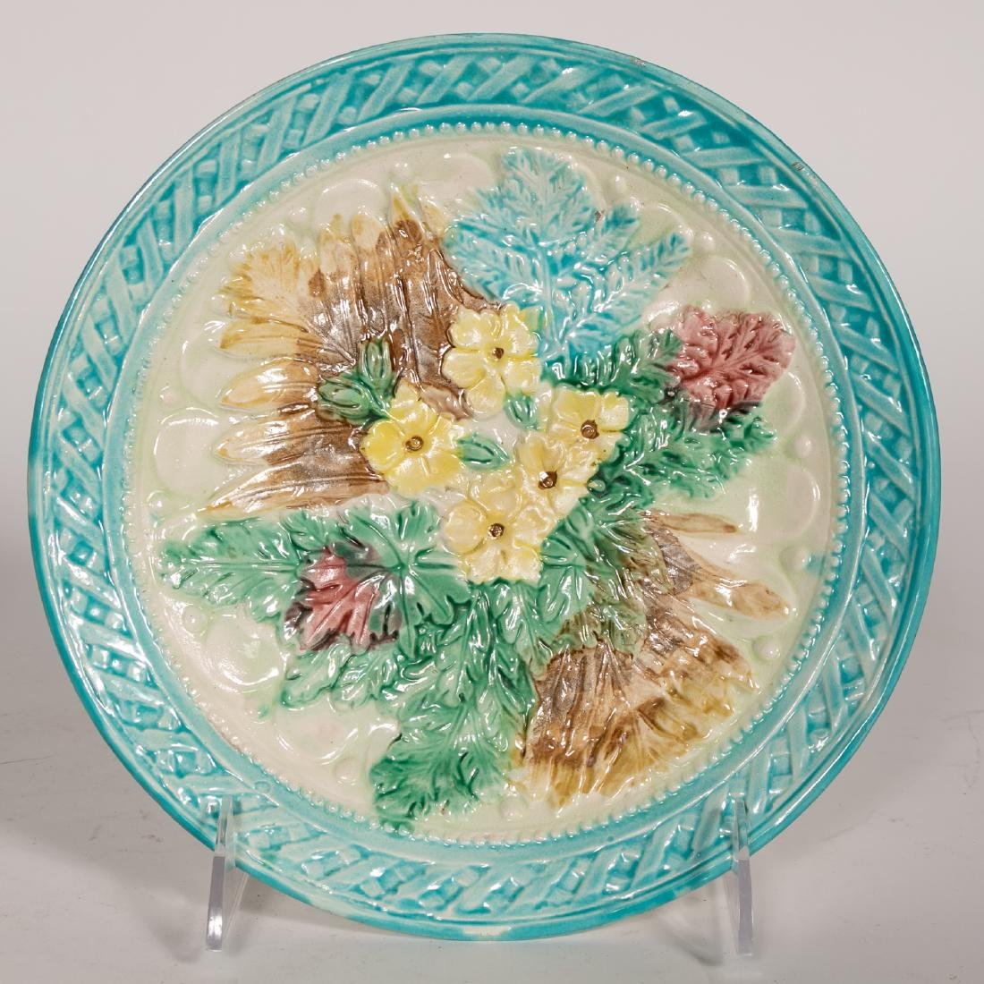 Group, 4 Floral Continental Majolica Plates - 5