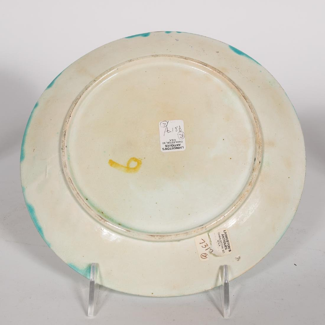 Group, 4 Floral Continental Majolica Plates - 8