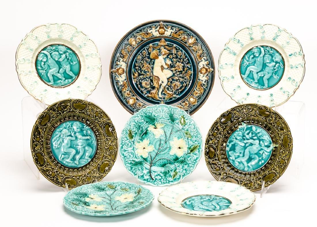 8 Continental Majolica Plates, Various Patterns