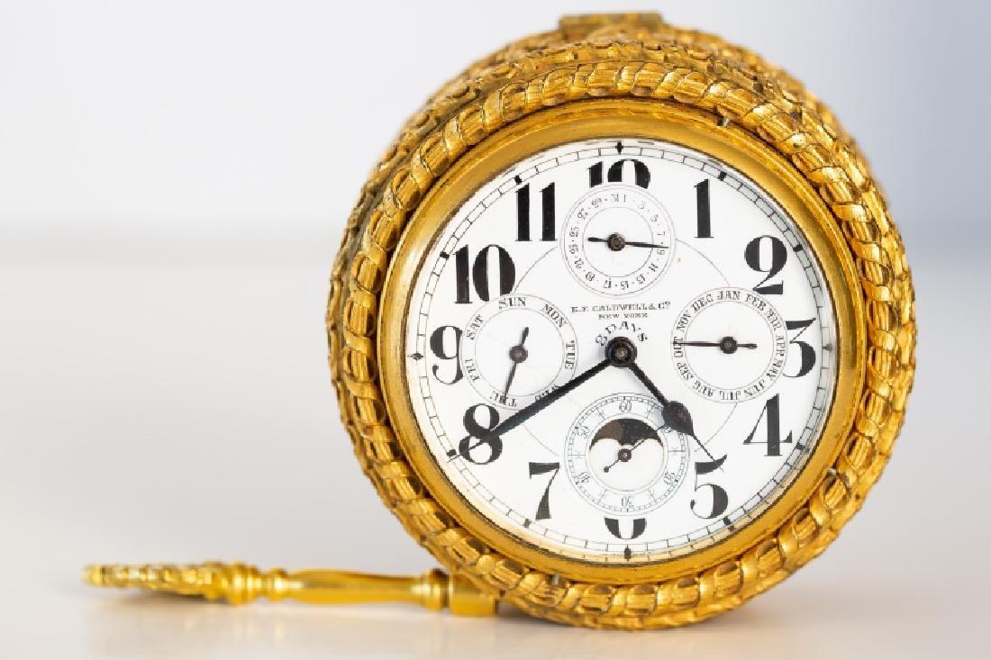 Gilt Bronze Table Clock, E. F. Caldwell