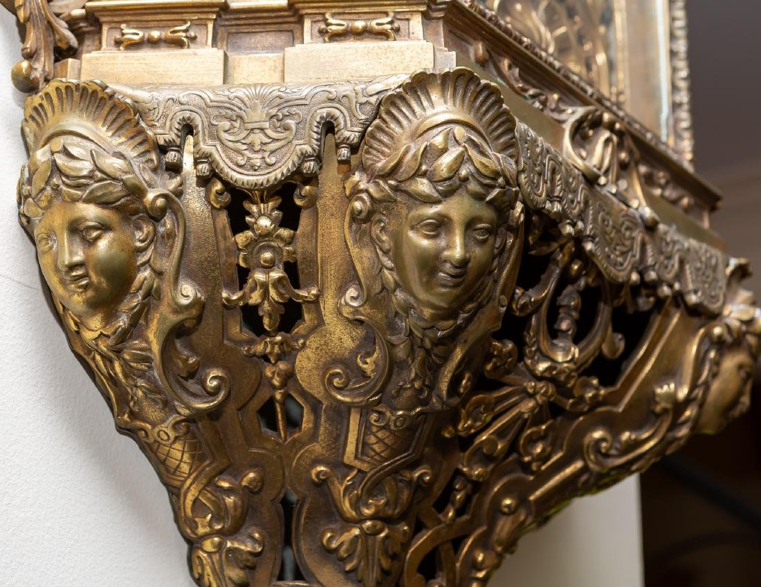 Lerolle Freres Monumental Gilt Bronze Cartel Clock - 10
