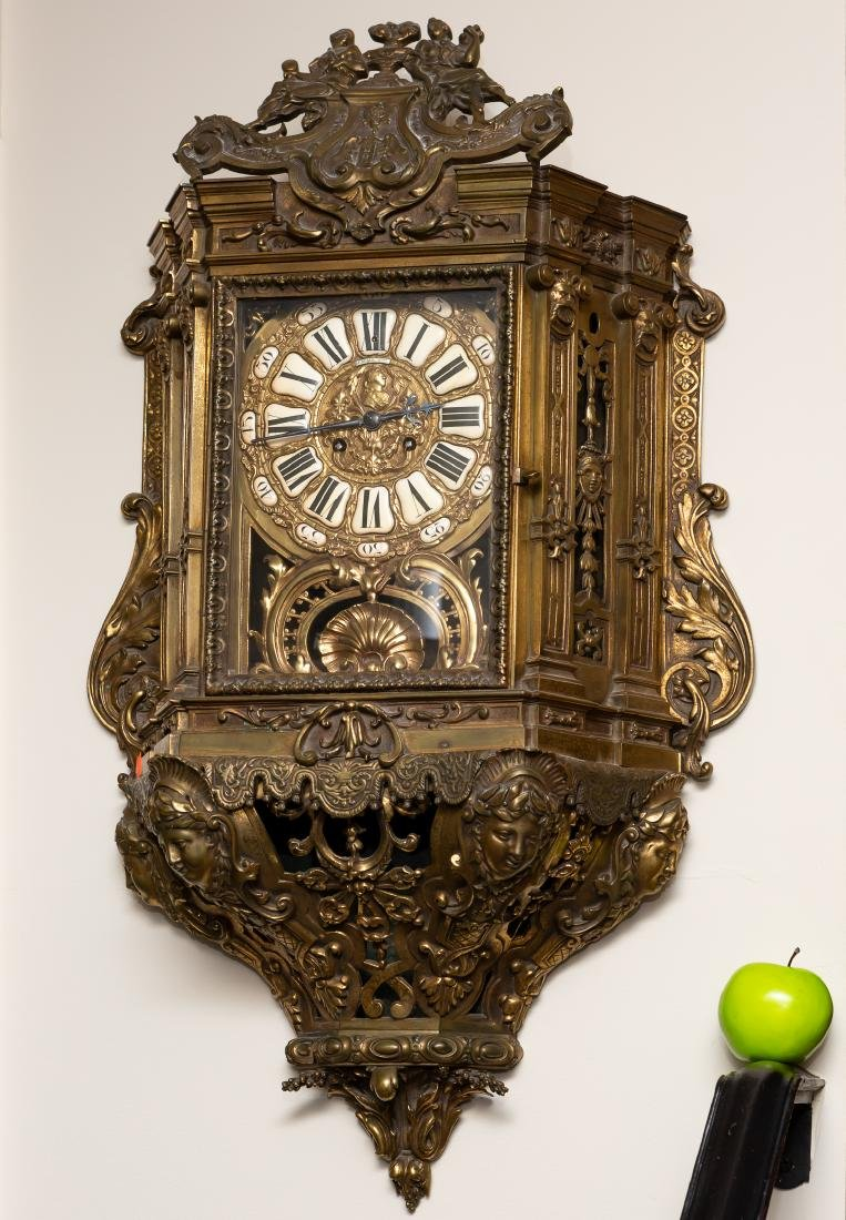 Lerolle Freres Monumental Gilt Bronze Cartel Clock