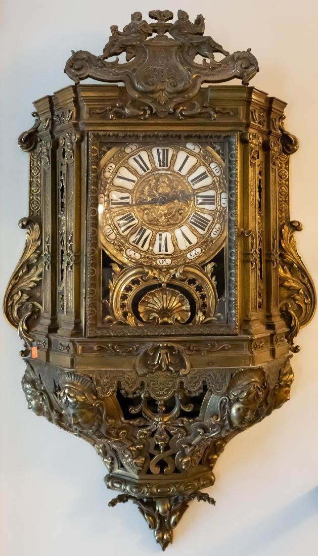 Lerolle Freres Monumental Gilt Bronze Cartel Clock - 2