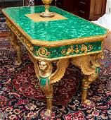 Empire Style Malachite  Gilt Bronze Center Table