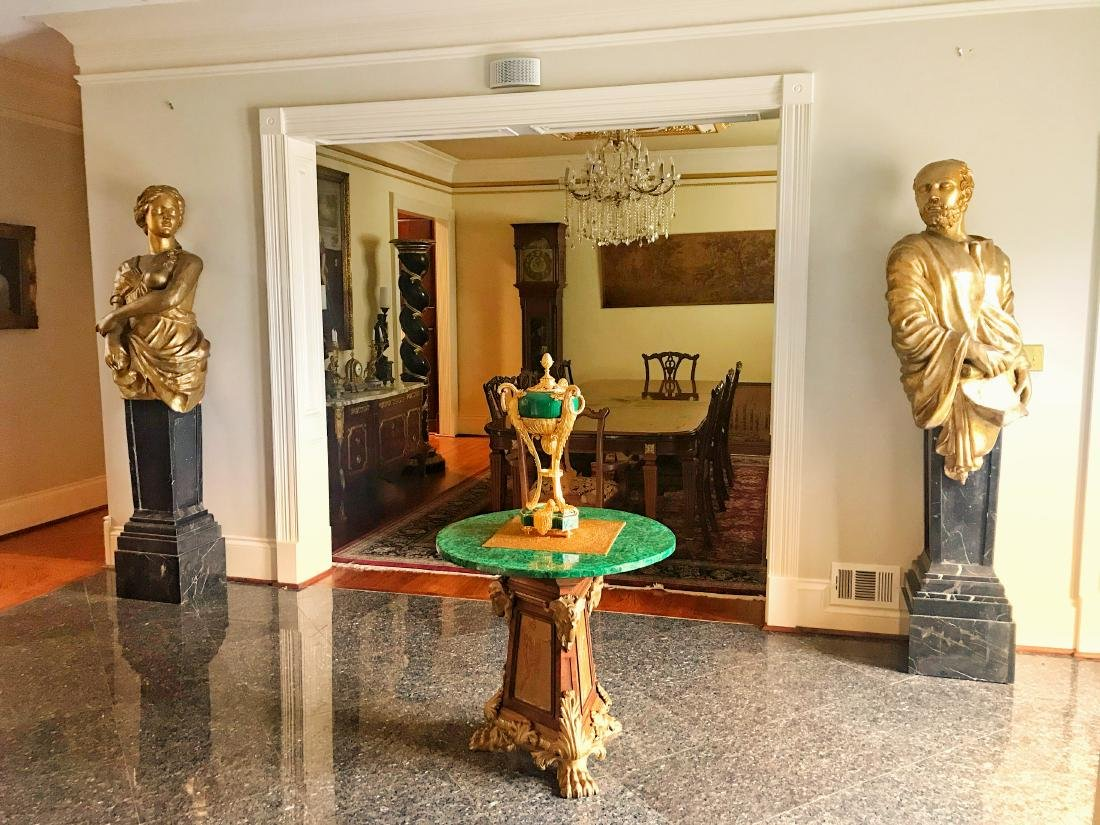 Pair Substantial Busts on Marble Pedestals