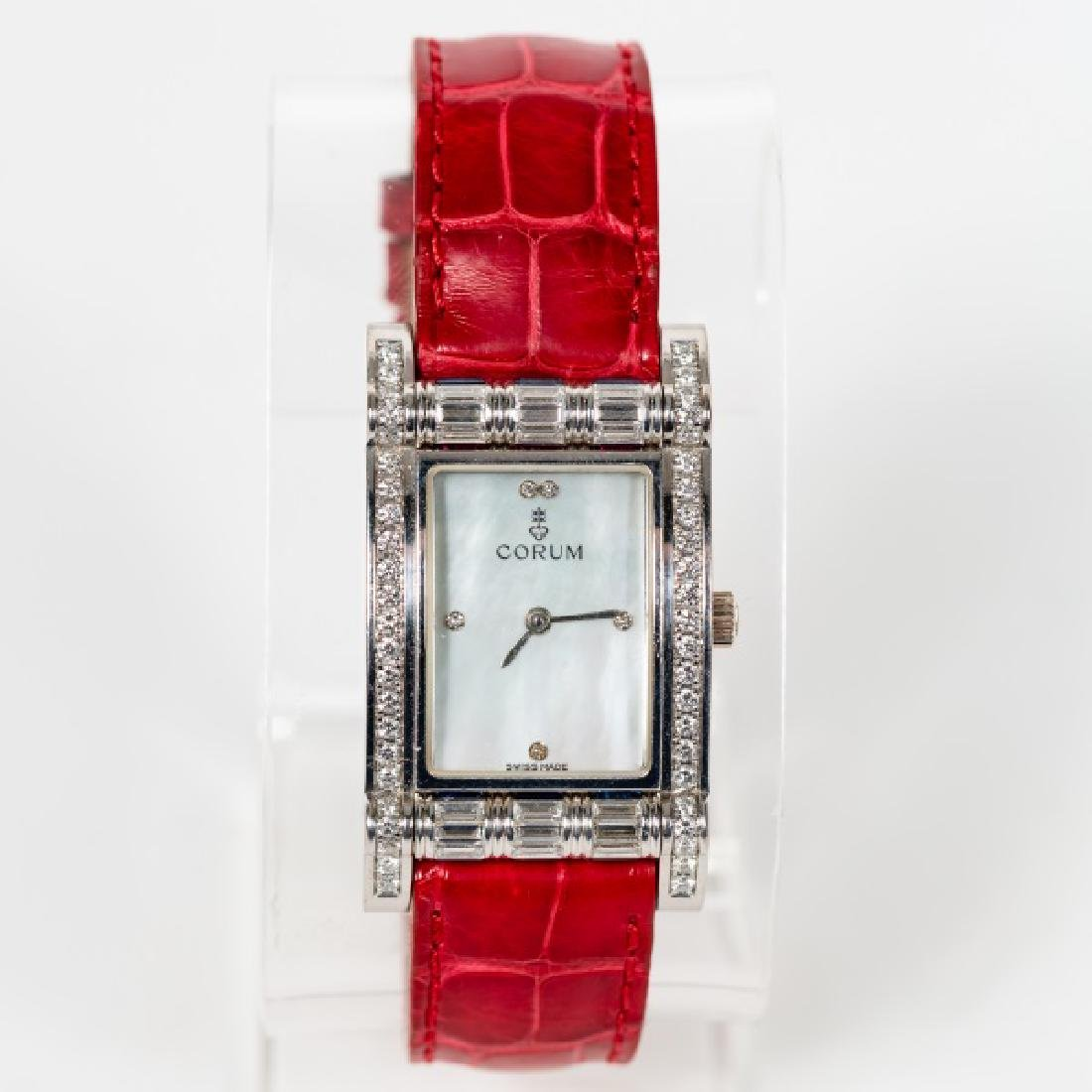 Corum 18k White Gold & Diamond Watch with MOP Face