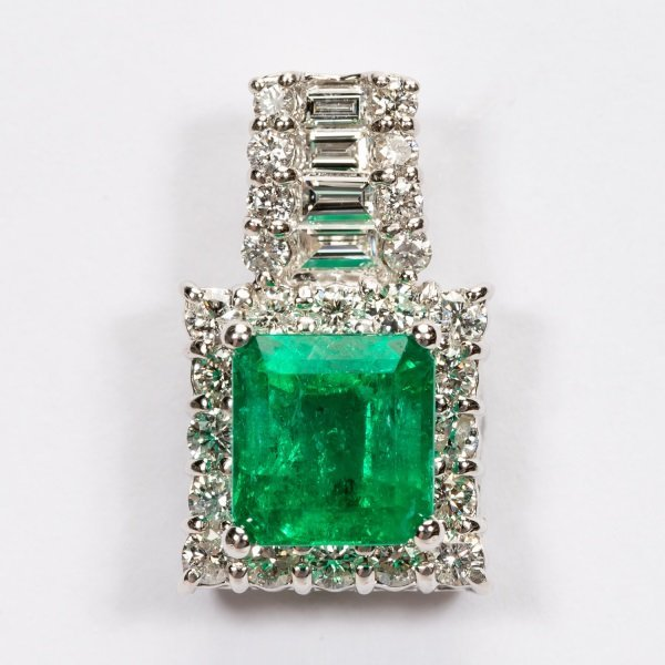 2.16ct Emerald & Diamond Pendant in Platinum, GIA
