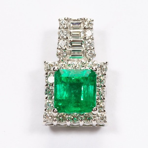 2.16ct Emerald & Diamond Pendant in Platinum, GIA - 2