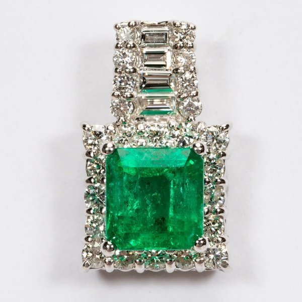 2.16ct Emerald & Diamond Pendant in Platinum, GIA - 3