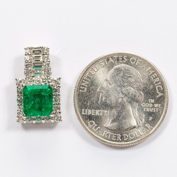2.16ct Emerald & Diamond Pendant in Platinum, GIA - 4