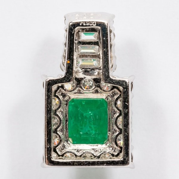 2.16ct Emerald & Diamond Pendant in Platinum, GIA - 5