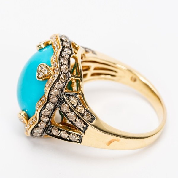 Carlo Viani Turquoise & Diamond Ring, 14k YG - 10