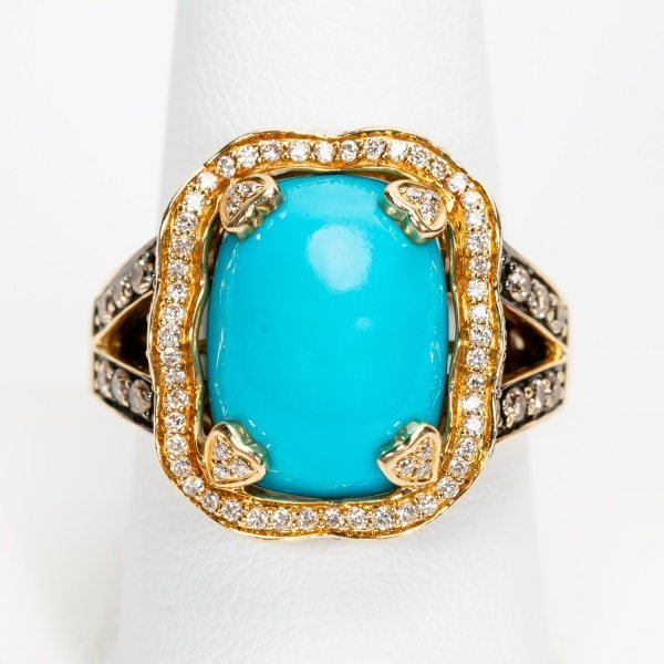 Carlo Viani Turquoise & Diamond Ring, 14k YG