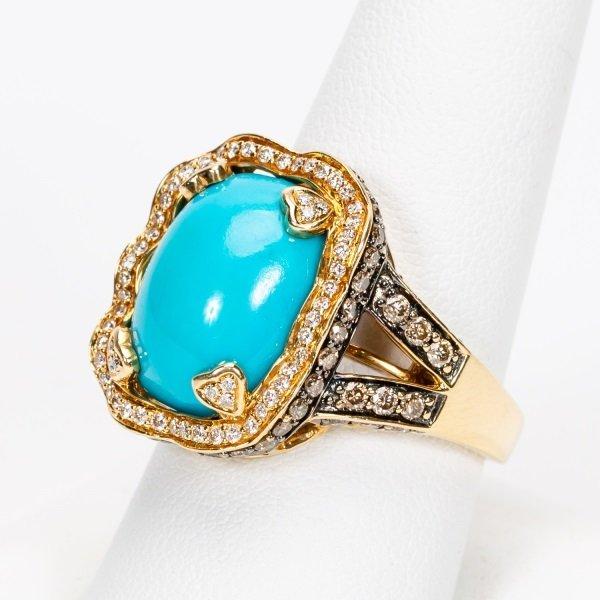 Carlo Viani Turquoise & Diamond Ring, 14k YG - 2