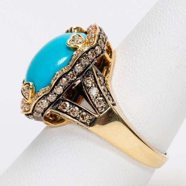 Carlo Viani Turquoise & Diamond Ring, 14k YG - 3
