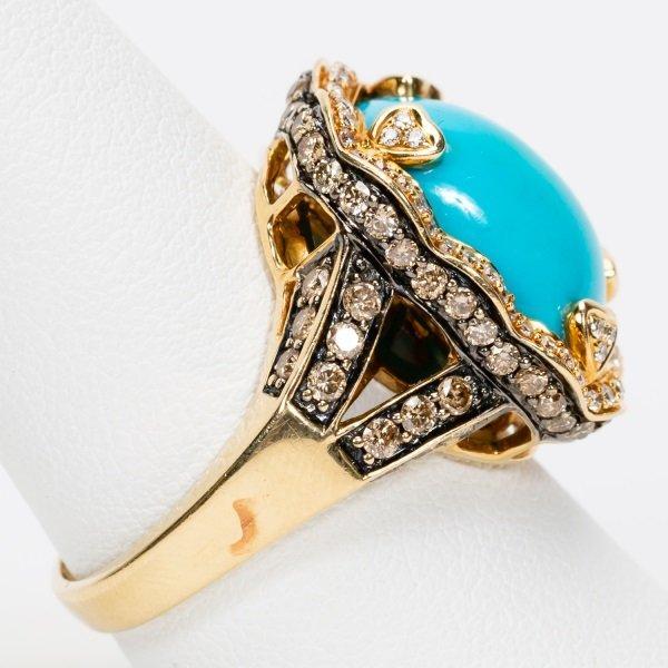 Carlo Viani Turquoise & Diamond Ring, 14k YG - 4