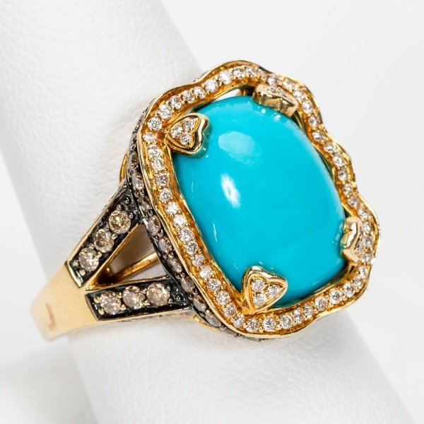 Carlo Viani Turquoise & Diamond Ring, 14k YG - 5
