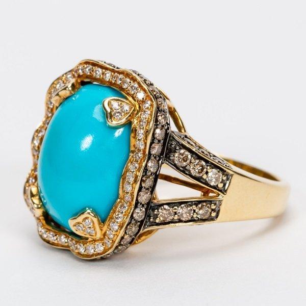 Carlo Viani Turquoise & Diamond Ring, 14k YG - 6